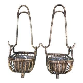 Vintage Rattan Hanging Planters-A Pair For Sale