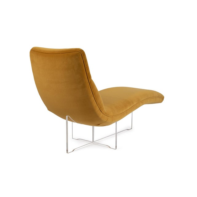 """Mid-Century Modern Vladimir Kagan """"Erica"""" Chaise in Yellow With Lucite Base For Sale - Image 3 of 7"""