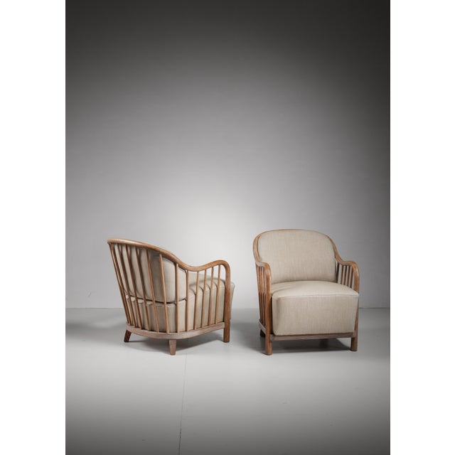 Pair of spindle lounge chairs from Italy, 1930s - Image 4 of 5