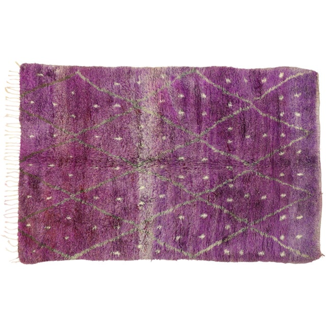 "20th Century Moroccan Berber Purple Rug with Diamond Pattern - 6'7"" X 10'2"" For Sale In Dallas - Image 6 of 10"