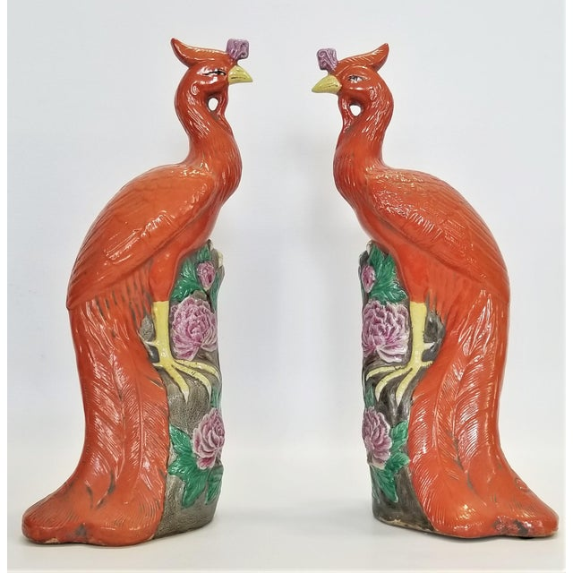 Large Chinese Ceramic Phoenix Sculpture Figurines - a Pair - Feng Shui - Asian Palm Beach Boho Chic Animals Birds Tropical Coastal For Sale - Image 13 of 13
