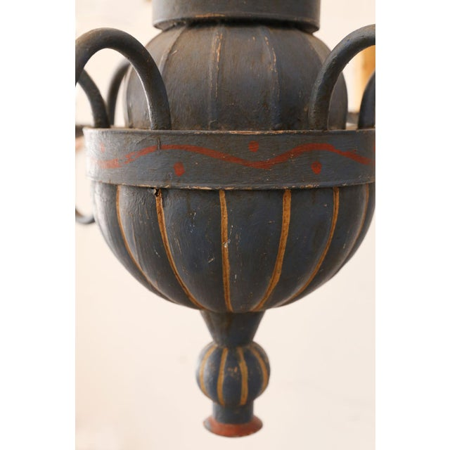 Vintage Painted Tole Chandelier For Sale - Image 4 of 9