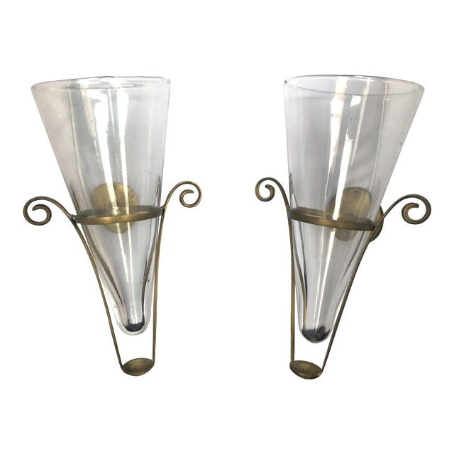 Blown Glass & Brass Vintage French Wall Vase Sconces - A Pair For Sale