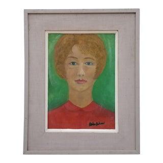1960s Vintage Signed Female Portrait Painting For Sale