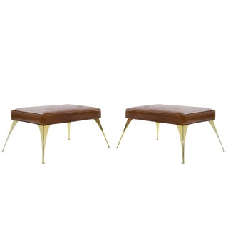Gio Ponti Style Benches in Cognac Leather For Sale