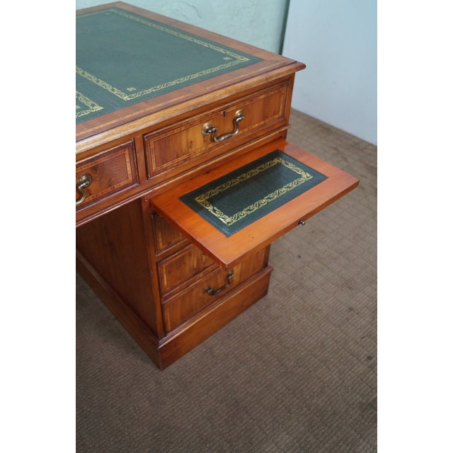 Brown English Yew Wood Leather Top Executive Desk For Sale - Image 8 of 10