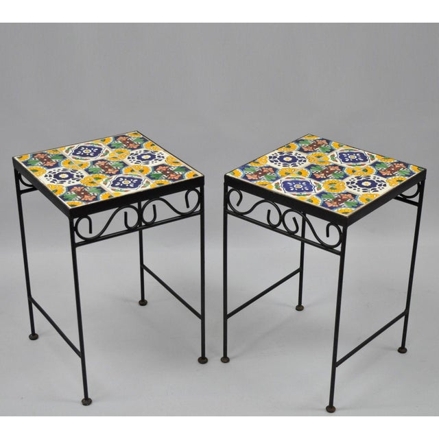 California Style 9 Tile Yellow Blue Green Wrought Iron Side Tables - a Pair - Image 11 of 11
