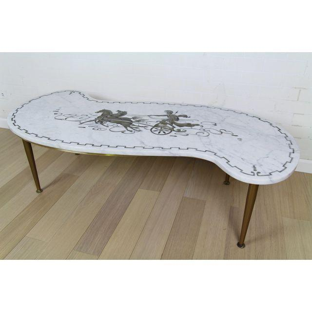 Mid-Century Italian White Marble Carrara Coffee Table - Image 3 of 5
