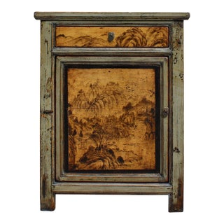 Oriental Ink Scenery Cream Gray Green Side Table Nightstand Cabinet