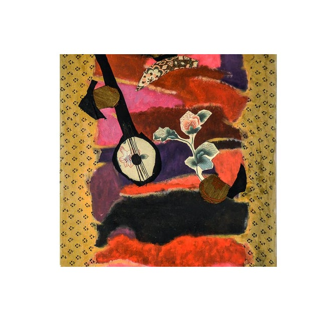 """Mymy Farmer """"Lute Player"""" Mixed Media Collage on Canvas For Sale - Image 4 of 7"""