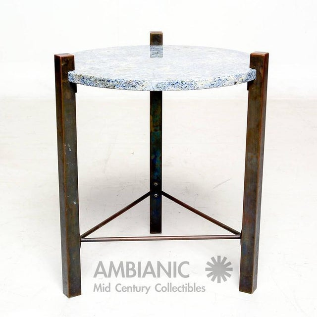 Blue Granite & Solid Bronze Side Table For Sale In San Diego - Image 6 of 10