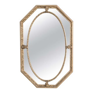1920s French Gilded Oval Mirror For Sale