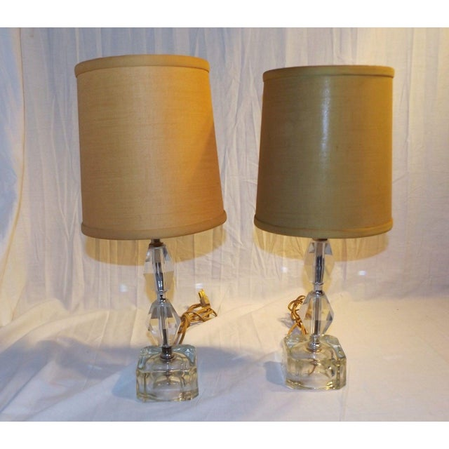 Vintage crystal glass ice cube bedside table lamps a pair chairish vintage crystal glass ice cube bedside table lamps a pair image 2 of 6 aloadofball Choice Image