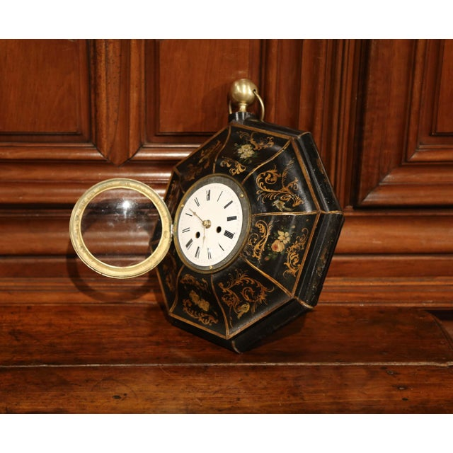 Metal 19th Century, French Napoleon III Black and Gilt Painted Tole Wall Clock For Sale - Image 7 of 10