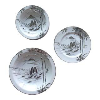 Mid Century Japanese Kutani Handpainted Dinnerware Plates & Bowls - 18 Pieces