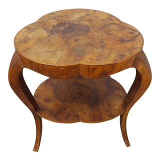 Italian Oyster Burl Wood Clover Side / Accent Table