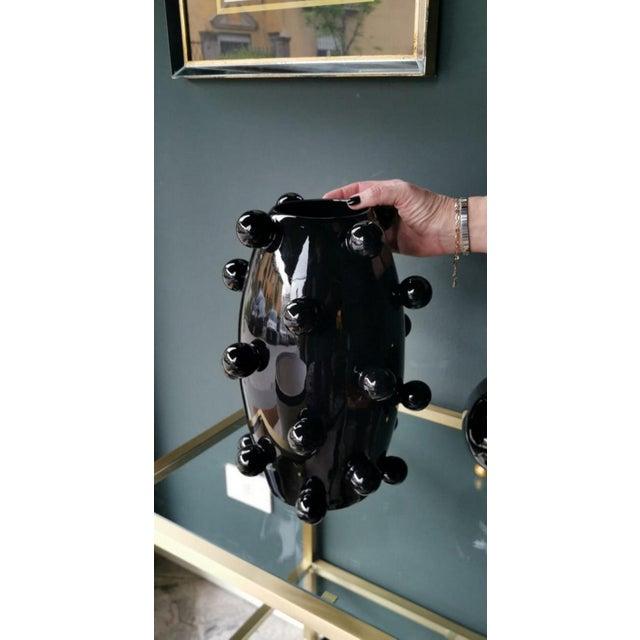 Black Polished Handmade Ceramic Sculpture Vase For Sale - Image 12 of 13