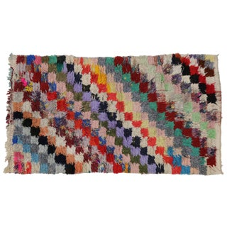 1980s Vintage Berber Tribes of Morocco Boucherouite Shag Accent Rug - 2′9″ × 4′7″ For Sale