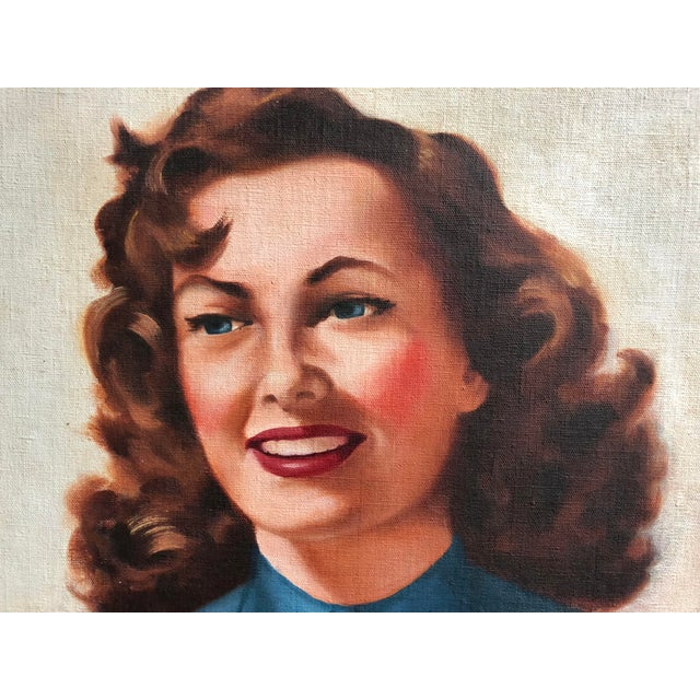 Mid Century Illustrator Oil/Canvas of a Woman With Beer For Sale - Image 4 of 8