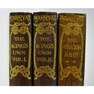 1896 Captain Frederick Marryat The Phantom Ship & The King's Own Hand-made Paper Illustrated Books - 3 Volumes Preview