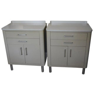 End Tables for Bedside or Sofa End Storage of Midcentury Two-Tone Steel, Pair For Sale