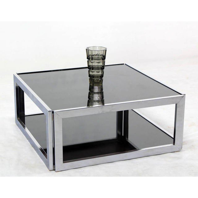 1970s Mid-Century Modern Square Chrome & Smoked Glass Coffee Table For Sale - Image 5 of 10
