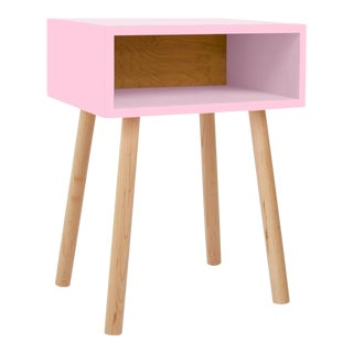 Minimo Modern Kids Nightstand in Pink & Solid Maple For Sale