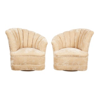 Pair of Kagan Inspired Nautilus Swivel Chairs For Sale