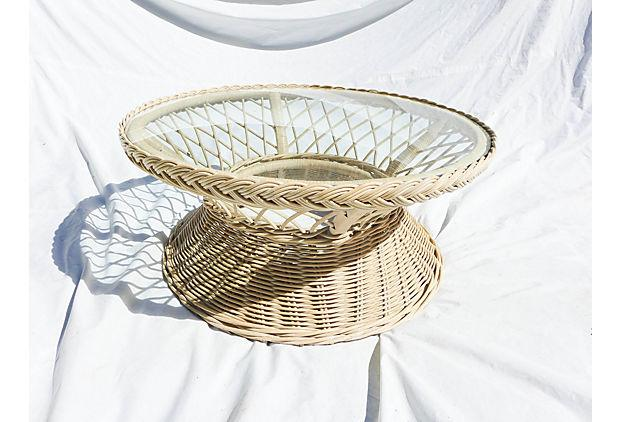 Round Wicker Glass Top Coffee Table In Natural Color. No Makeru0027s Mark. Circa