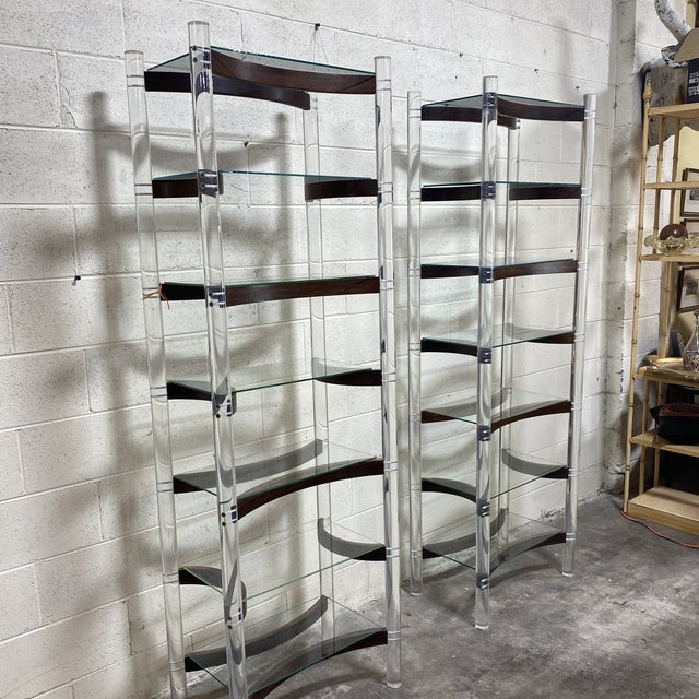 Buy these before I decide to keep them! Fantastic pair of thick lucite and rosewood shelving units with removable glass...