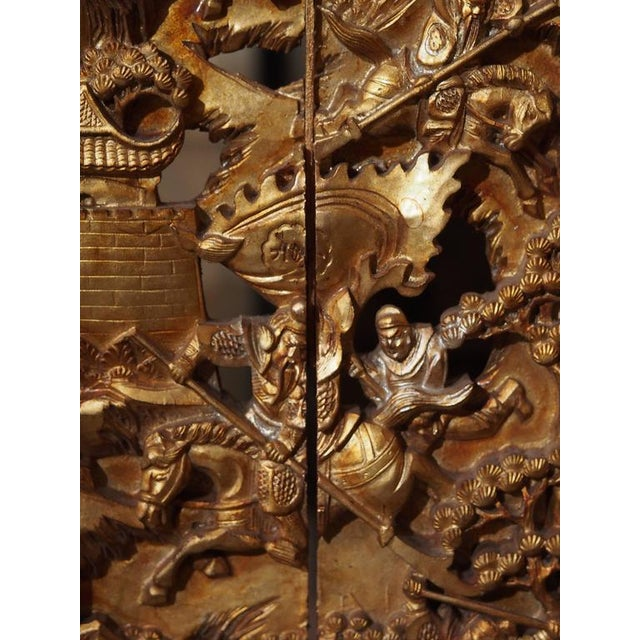 Antique Chinese Four-Panel Screen For Sale In New Orleans - Image 6 of 10