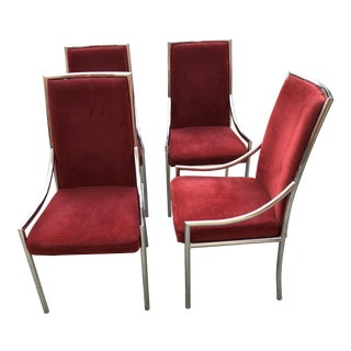 1970's Straightback Chrome Dining Chairs- Set of 4 For Sale