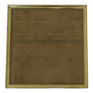Antique American Textile Sample in Gold Frame C.1801 For Sale