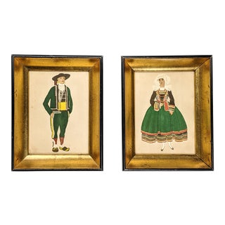 Charming Vintage Prints of Dutch Woman and Man With Gold and Black Wood Frames. Pair of 2 For Sale