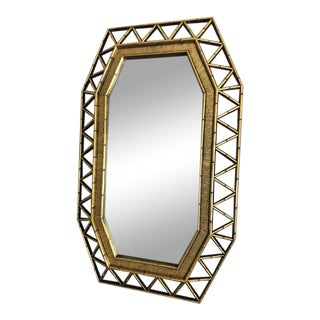 Faux Bamboo Gold Mirror For Sale