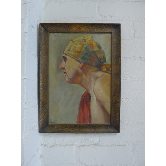 Oil painting from the 1920s. Figural, impressionistic portrait, oil on board or cardboard. Dated verso, see photos....