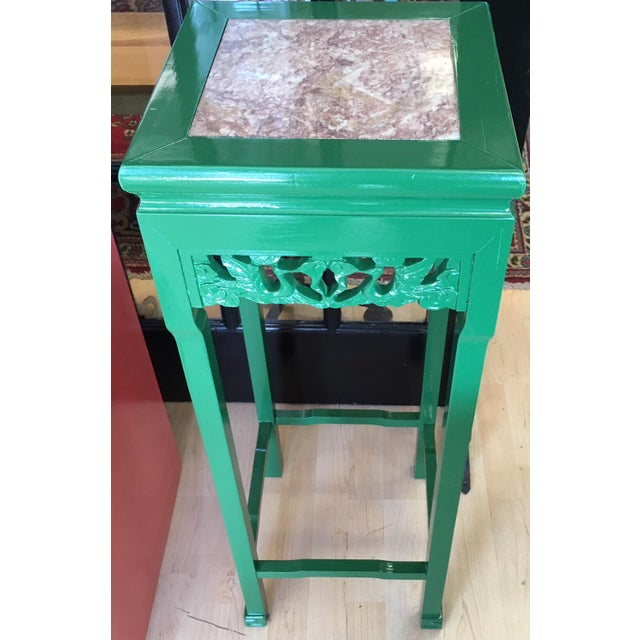 Asian Vintage Asian Rosewood Stand in Kelly Green With Italian Marble Inlay For Sale - Image 3 of 4