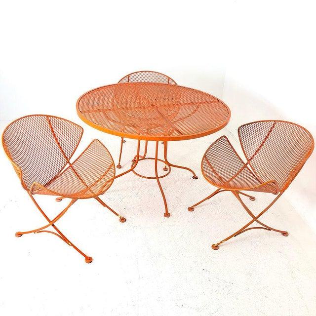 """Salterini Set of Three Mid-Century Salterini """"Orange Slice"""" Chairs & Table Orange Metal Patio Set For Sale - Image 4 of 9"""