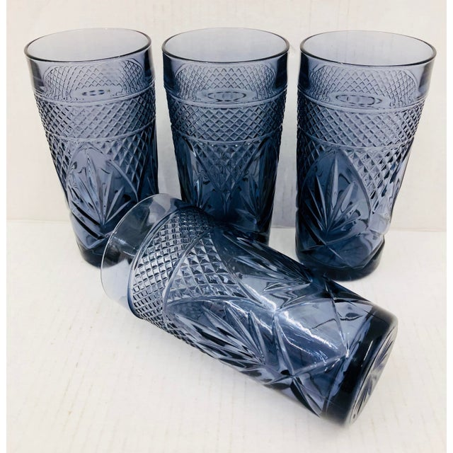 Abstract Vintage Set Cut Glass Tumblers For Sale - Image 3 of 5