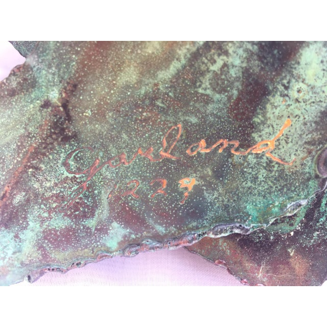 """Brutalist Garland Faulkner Enameled Copper Monstera """"Swiss Cheese Plant"""" Wall Sconce For Sale - Image 3 of 6"""