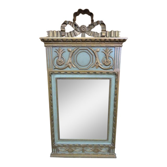 Italian Style Carved Green & Gold Mirror For Sale