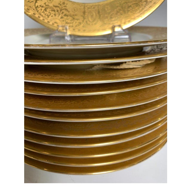 Metal Wide Gold Bordered Service Plates - Set of 12 For Sale - Image 7 of 12
