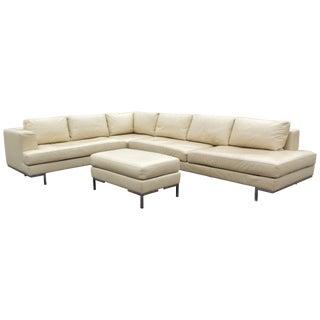 Mid-Century Modern Chrome Base Three-Piece Cream Leather Sectional Sofa, B&b