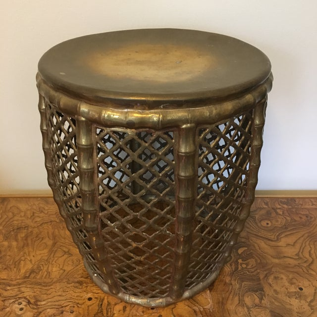 Gorgeous, vintage faux bamboo garden in solid brass. Minor wear/patina consistent with age and detailed in pictures.