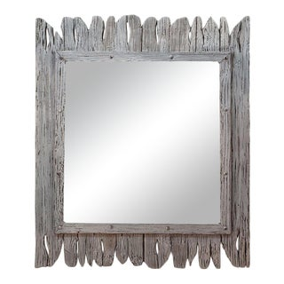 Moroccan White Washed and Repurposed Wooden Mirror For Sale