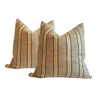 Gray and Gold Striped Pillows - A Pair