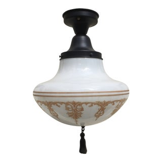 Vintage Stenciled Schoolhouse Shade With Vintage Flushmount Fixture For Sale