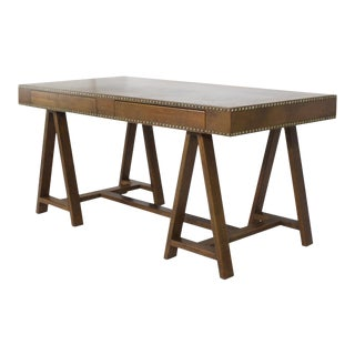 Mid-Century Modern Campaign Style Leather Clad Desk For Sale