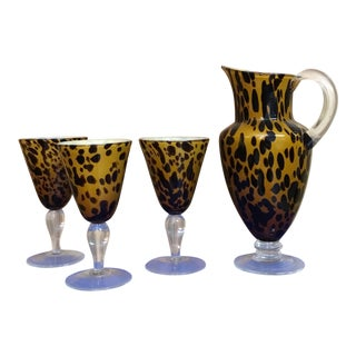 Vintage Leopard Pattern Pitcher & Goblets - 4 Pc Set