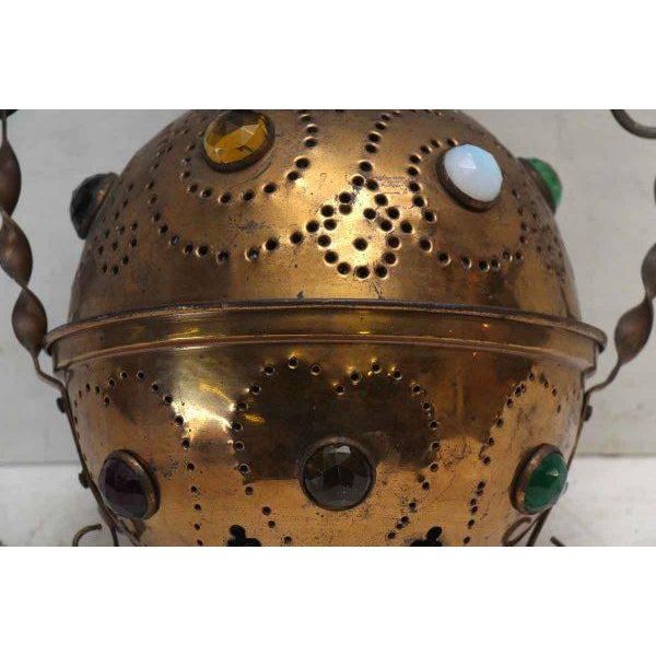 Vintage Brass Jeweled Incense Burner - Image 6 of 11